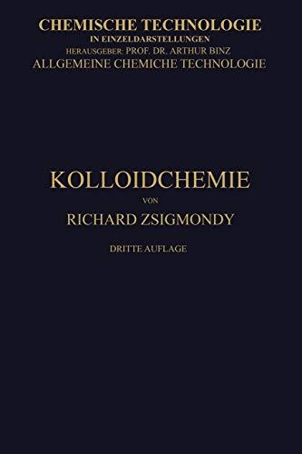 9783662335178: Kolloidchemie Ein Lehrbuch (Chemische Technologie in Einzeldarstellungen) (German Edition)