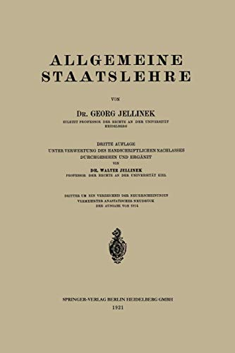 Allgemeine Staatslehre - Jellinek Georg, Jellinek Georg
