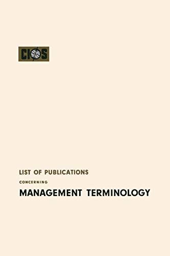 List of Publications Concerning Management Terminology: Cios Cios