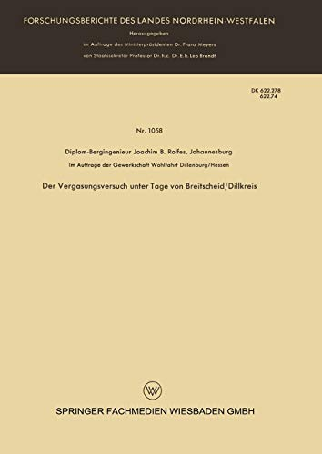 9783663033943: Der Vergasungsversuch Unter Tage Von Breitscheid/Dillkreis (Forschungsberichte des Landes Nordrhein-Westfalen)