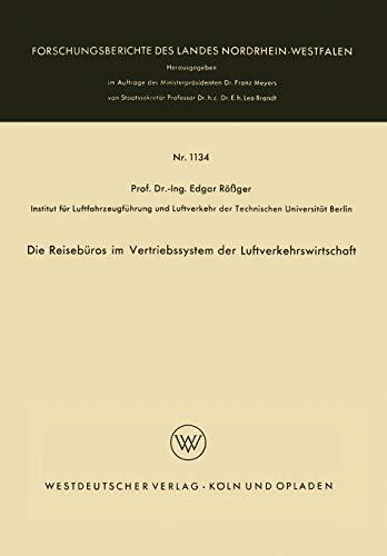 Die Reiseburos Im Vertriebssystem Der Luftverkehrswirtschaft: Edgar Rà ßger