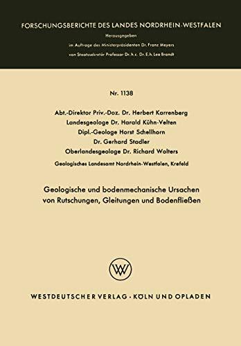 9783663063254: Geologische und bodenmechanische Ursachen von Rutschungen, Gleitungen und Bodenfließen (Forschungsberichte des Landes Nordrhein-Westfalen)