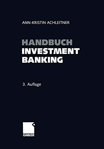 9783663102601: Handbuch Investment Banking (German Edition)