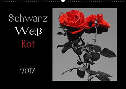 9783664886418: Schwarz-Weiß-Rot (Wandkalender 2017 DIN A2 quer): Schwarz-Weiß-Fotos mit roten Spots (Monatskalender, 14 Seiten )