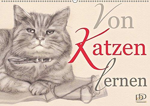 9783665372903: Von Katzen lernen (Wandkalender 2017 DIN A2 quer): Kalender mit Planer - Katzenzeichnungen mit Zitaten (Geburtstagskalender, 14 Seiten )
