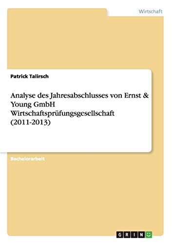 9783668071810: Analyse des Jahresabschlusses von Ernst & Young GmbH Wirtschaftsprüfungsgesellschaft (2011-2013) (German Edition)
