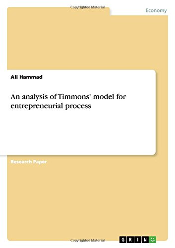 9783668072589: An analysis of Timmons' model for entrepreneurial process