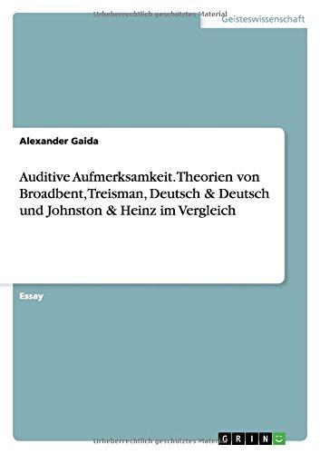 9783668112230: Auditive Aufmerksamkeit. Theorien von Broadbent, Treisman, Deutsch & Deutsch und Johnston & Heinz im Vergleich