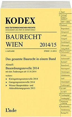 9783707331646: KODEX Baurecht Wien 2014/15