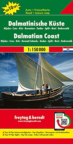 Dalmatinische Küste, Rijeka - Cres - Krk - Kornaten - Zadar - Split - Brac - Dubrovnik, Autokarte 1:150.000