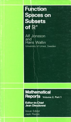 9783718601288: 002: Function Spaces on Subsets of Rn (Mathematical reports, Vol. 2, Part 1)