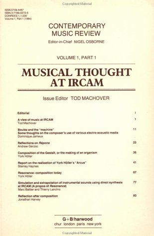 Musical Thought at IRCAM (Contemporary Music Review)