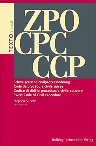 ZPO Schweizerische Zivilprozessordnung CPC Code de procédure civile suisse CPC Codice di ...