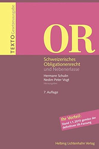 9783719035952: Texto OR: Schweizerisches Obligationenrecht und Nebenerlasse
