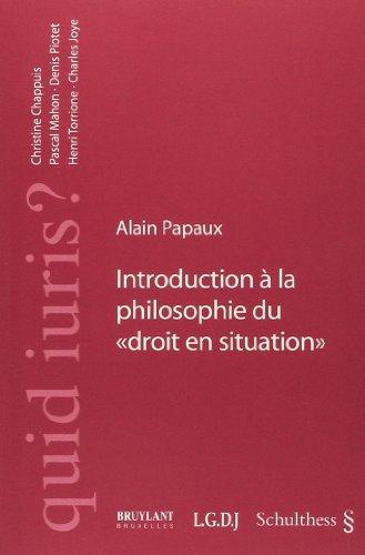 9783725550722: introduction a la philosophie du droit en situation
