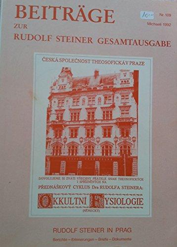 Beiträge zur Rudolf Steiner Gesamtausgabe, Heft 109
