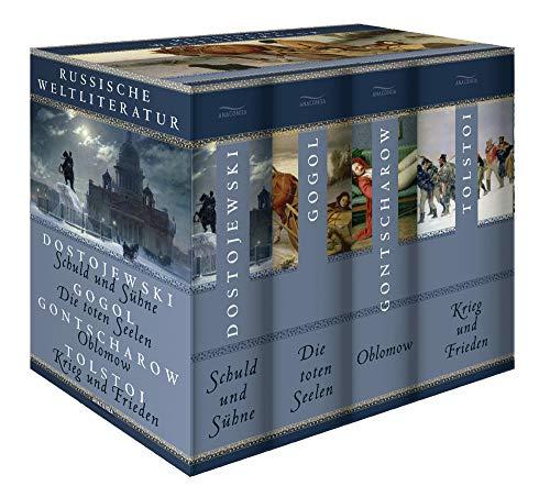 Russische Weltliteratur: Schuld und Sühne - Die toten Seelen - Oblomow - Krieg und Frieden: 4 Bände...