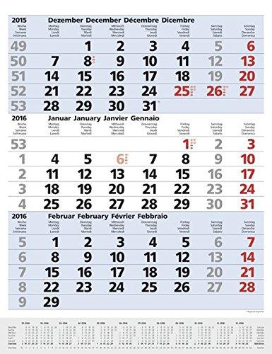 9783731812791: 3-Monats-Planer Comfort Blau 2016: Vor- und Nachmonat, mit Datumsschieber
