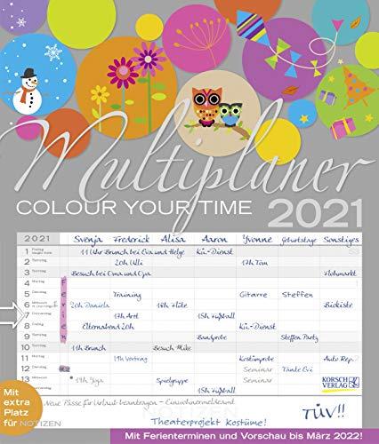 27 cm x 47 cm Korsch-Verlag Familienplaner XL pastell Familienplaner 2020 f/ür 6 Personen Kalender mit 6 Spalten zum Eintragen
