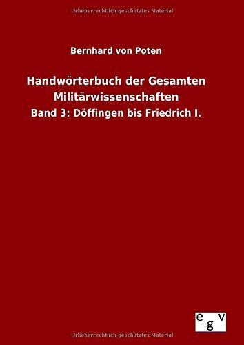 9783734004711: Handworterbuch Der Gesamten Militarwissenschaften