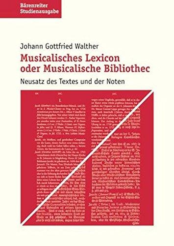 9783761815090: Musikalisches Lexikon oder musikalische Bibliothek. Studienausgabe: Neusatz des Textes und der Noten
