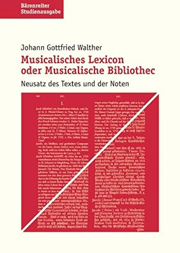 9783761815090: Musikalisches Lexikon oder musikalische Bibliothek. Studienausgabe.