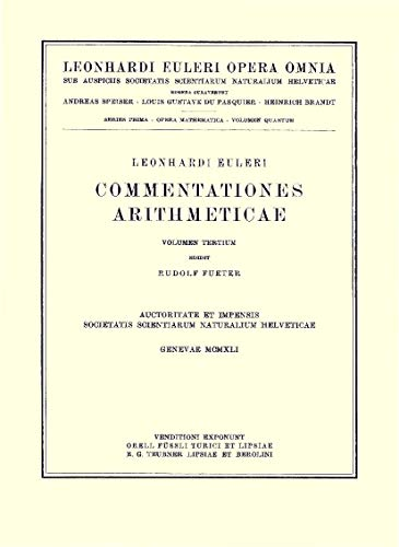 Commentationes Arithmeticae: 1st Part (Hardcover): Leonhard Euler