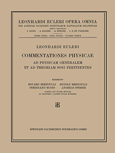 Leonhard Euleri Opera Omnia: Series Tertia: Opera: Eduard Bernoulli