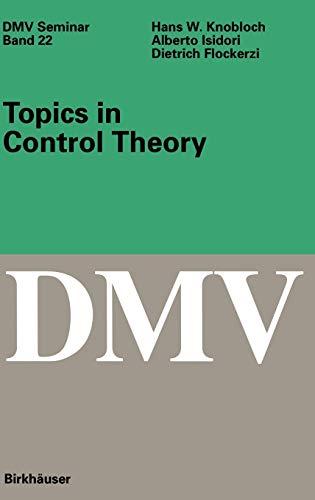 Topics in Control Theory (Hardback): H. W. Knobloch,