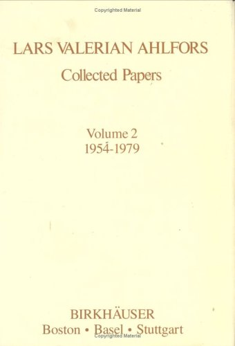 9783764330767: Lars Valerian Ahlfors: Collected Papers, 1954-1979 (Contemporary Mathematicians)