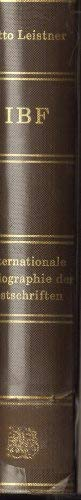 Internationale Bibliographie der Festschriften : mit Sachreg. = International bibliography of ...