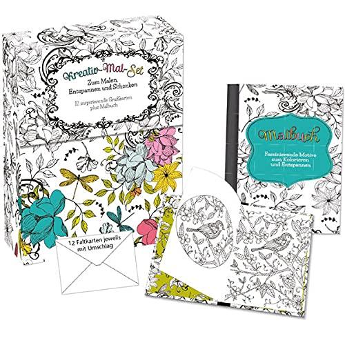 Kreativ-Mal-Set: Zum Malen, Entspannen und Schenken. 12 inspirierende Grußkarten plus Malbuch