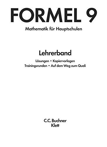 Formel, Mathematik für Hauptschulen in Bayern, bisherige Ausgabe 9. Schuljahr, Lehrerband, ...
