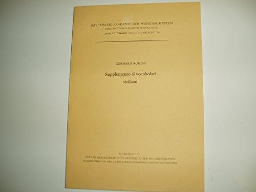 9783769600735: Supplemento ai vocabulari siciliani