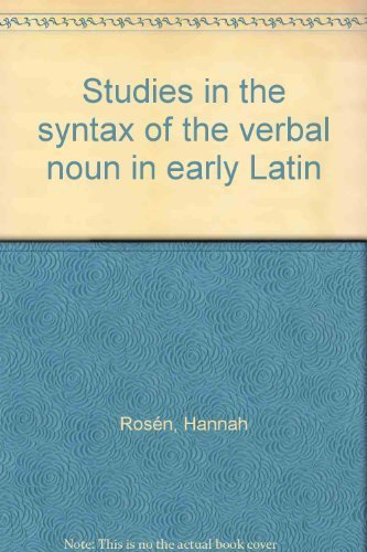 9783770517725: Studies in the syntax of the verbal noun in early Latin