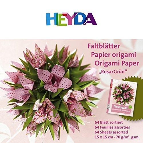 9783772490620: HEYDA Origami Faltbl�tter, (B)150 x (H)150 mm, rosa/gr�n