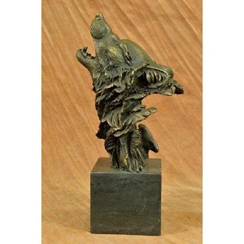 9783773000262: Signed Original Crying Wolf Bronze Sculpture Bust Hot Cast Marble Figurine Lopez