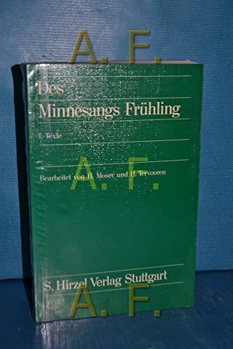 9783777603148: Des Minnesangs Frühling Nach Karl Lachmann, Moriz Haupt und Friedrich Vogt