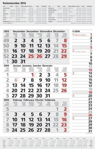 9783782784702: 3-Monats-Planer Combi 2014: Vor- und Nachmonat und Ferienterminen