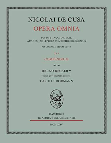 9783787301928: Nicolai de Cusa Opera Omnia. Volumen XI 3. (German Edition)