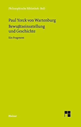 9783787310289: Bewusstseinsstellung und Geschichte (Philosophische Bibliothek) (German Edition)