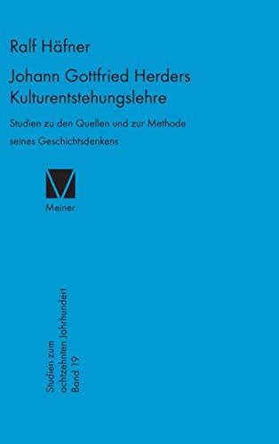 9783787311781: Johann Gottfried Herders Kulturentstehungslehre (Studien Zum Achtzehnten Jahrhundert)