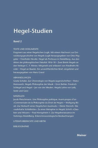 Hegel-Studien: Friedhelm Nicolin