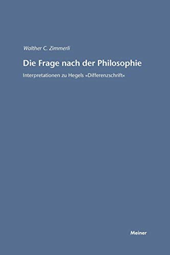 Die Frage nach der Philosophie: Walther C. Zimmerli