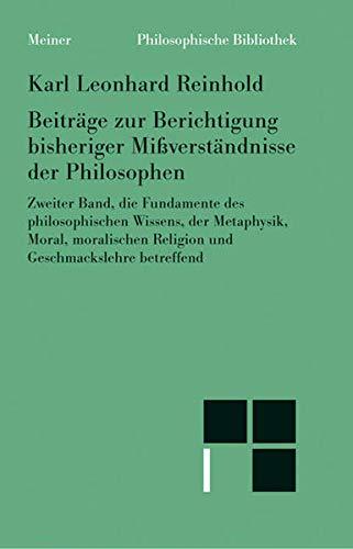 9783787316786: Beiträge zur Berichtigung bisheriger Mißverständnisse der Philosophen 2