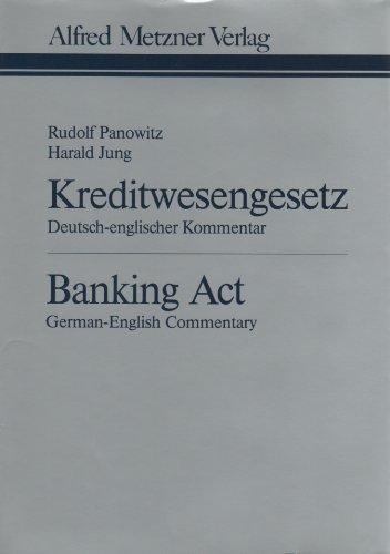 9783787553495: Kreditwesengesetz: Deutsch-englischer Kommentar