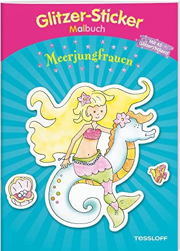 Glitzer-Sticker-Malbuch. Meerjungfrauen: Mit 50 glitzernden Stickern!