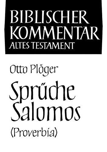 Sprüche Salomos (Proverbia): Otto Pl�ger