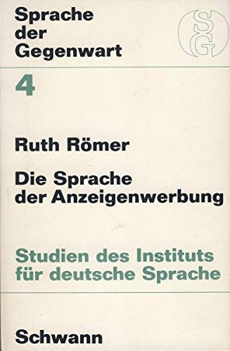 9783789500732: Die Sprache der Anzeigenwerbung. (=Sprache der Gegenwart; Band IV).