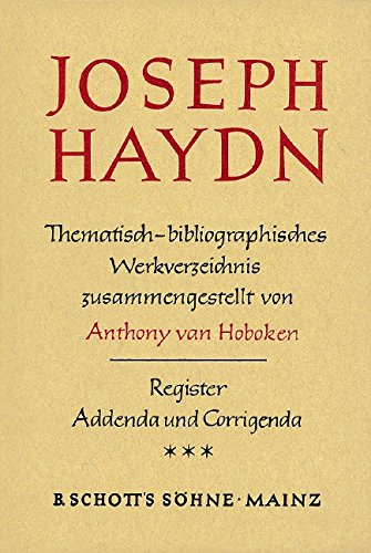 9783795700034: HAYDN THEMATIC CATALOG THEMATISCH-BIBLIOGRAPHISCHES CLOTH VOLUME 3